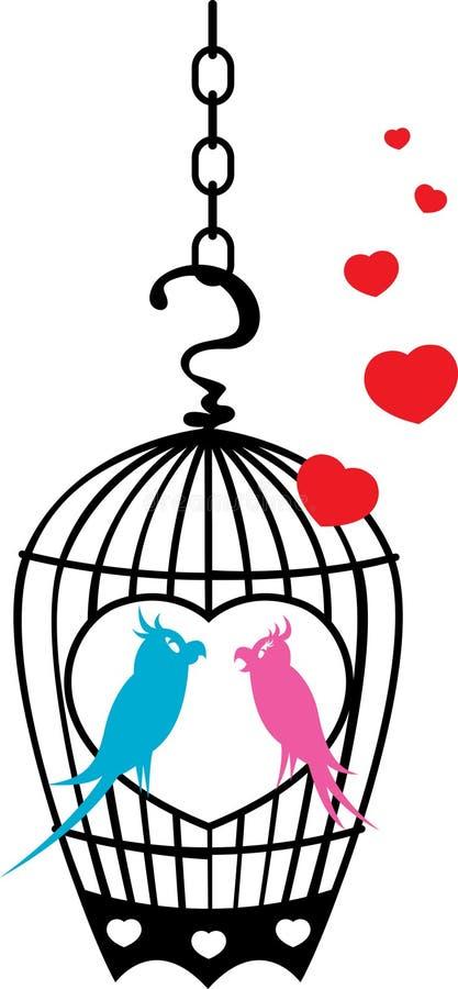Gaiola de pássaro encantadora - papagaio ilustração royalty free
