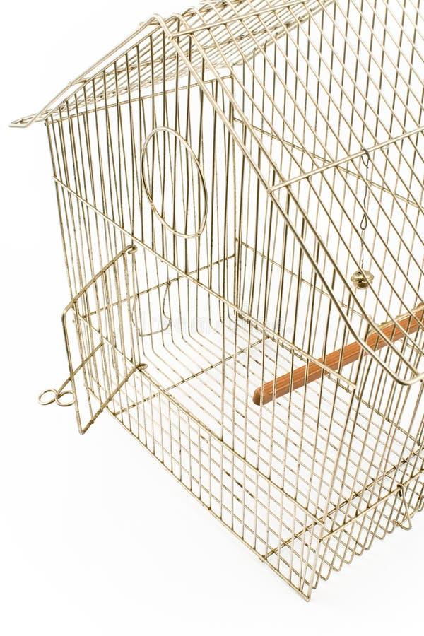 Gaiola de pássaro vazia com porta aberta foto de stock