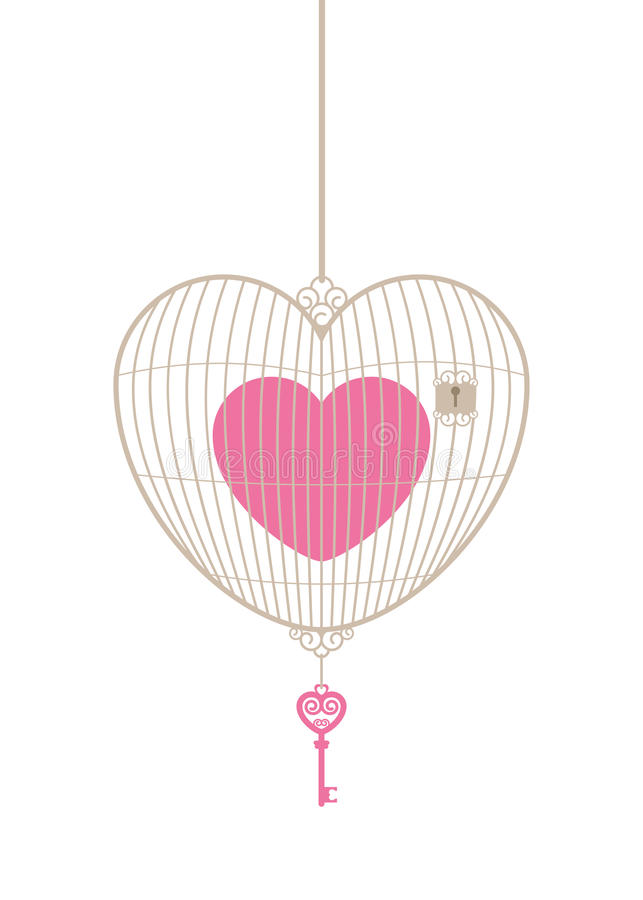 Gaiola do amor com chave ilustração royalty free