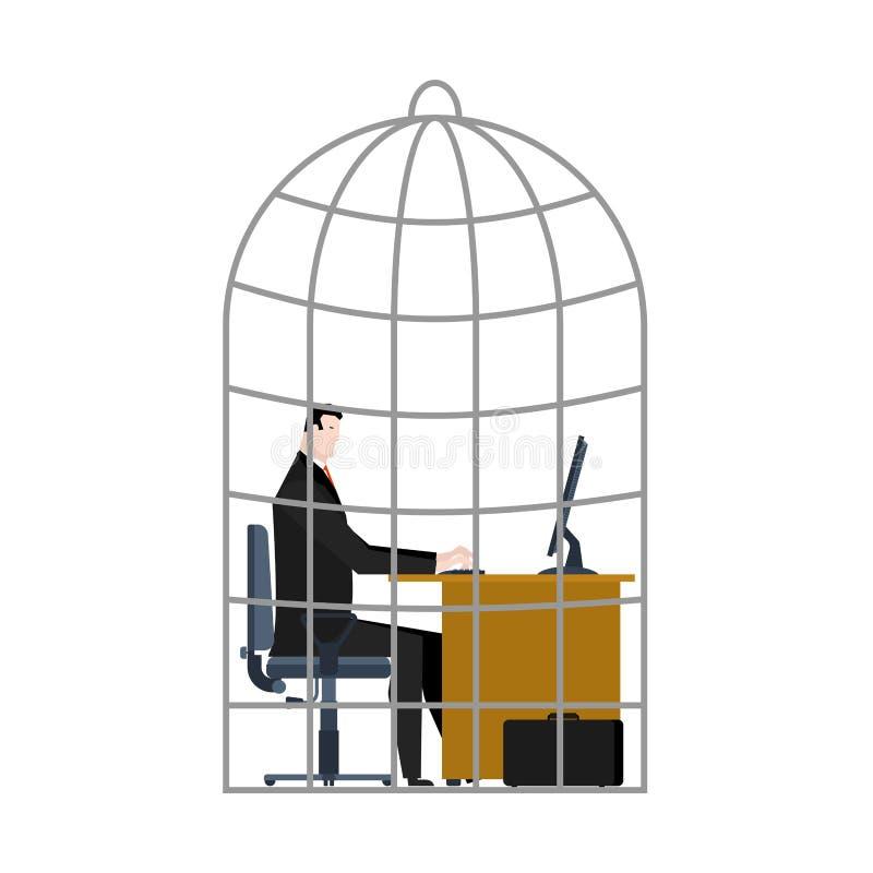 Gaiola do escritório o homem de negócios é prendido Ilustração do vetor ilustração royalty free