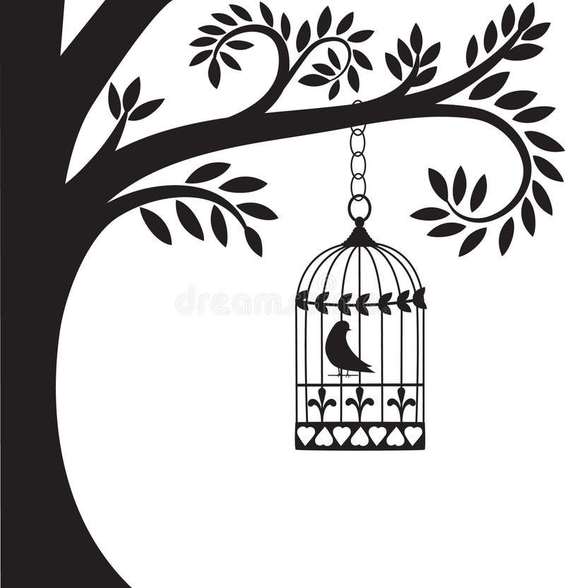Gaiola e árvore de pássaro ilustração royalty free