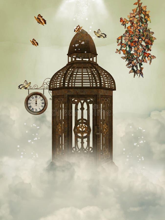 Gaiola e borboletas ilustração stock