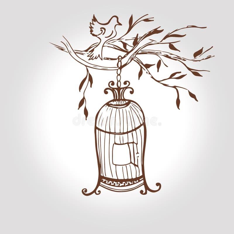 Gaiola tirada mão do vintage do vetor birdcage do esboço ilustração royalty free
