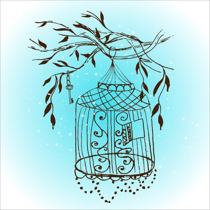 Gaiola tirada mão do vintage do vetor birdcage do esboço ilustração stock