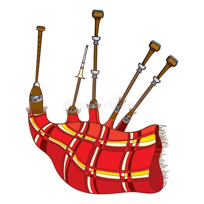 Gaita del instrumento musical del esquema del vector o sistema popular escocesa de tubos con el tartán rojo aislado en el fondo b libre illustration