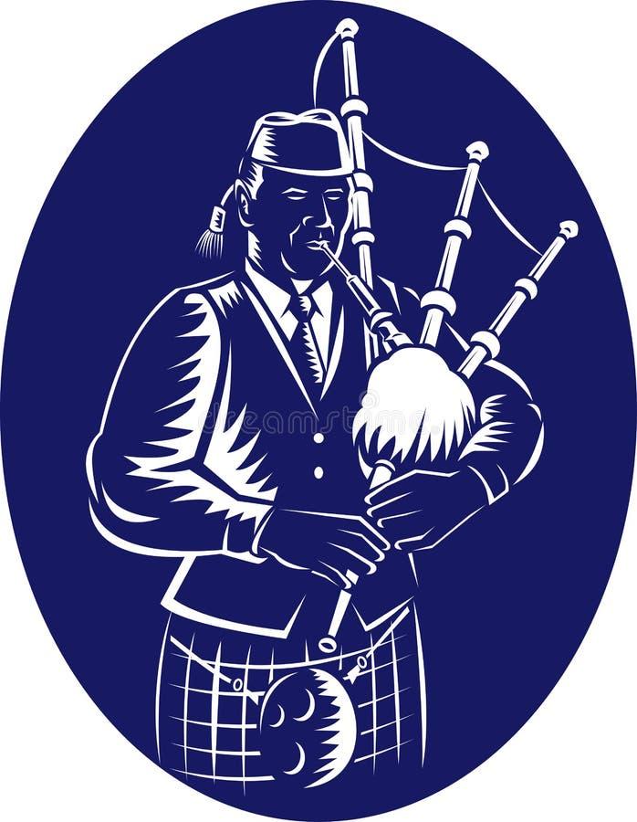 Gaita escocesa de la montaña del gaitero gran ilustración del vector