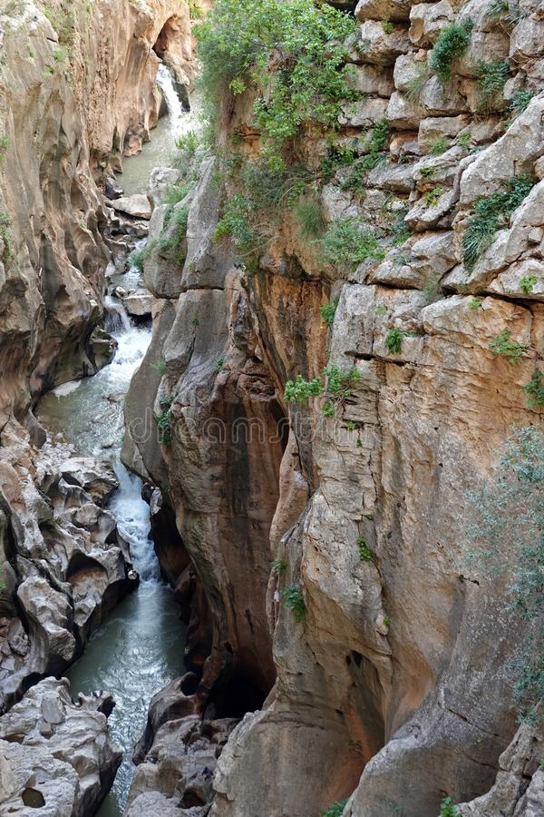 Gaitanes Gorge at Caminito del Rey in Andalusia, Spain. The Caminito del Rey i or King`s little footpath s a cliff-side path hanging 100m above the waters of the stock image