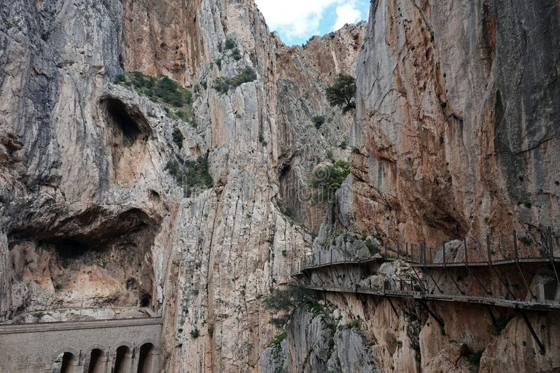 Gaitanescanion in Caminito del Rey in Andalusia, Spanje royalty-vrije stock foto