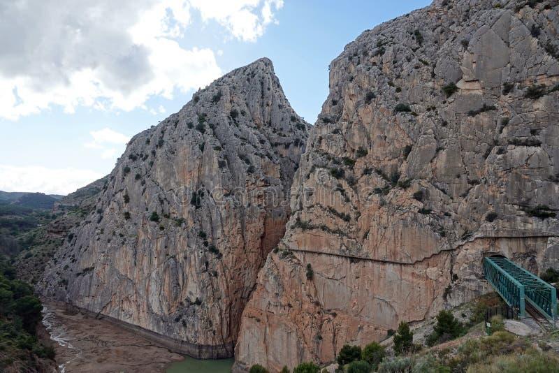 Gaitanesmuur van Caminito del Rey in Andalusia, Spanje stock afbeeldingen