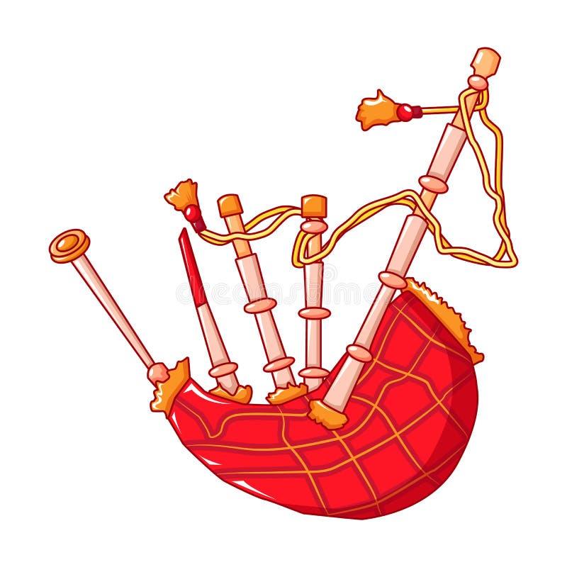 Gaitas de fole vermelhas ícone, estilo dos desenhos animados ilustração stock