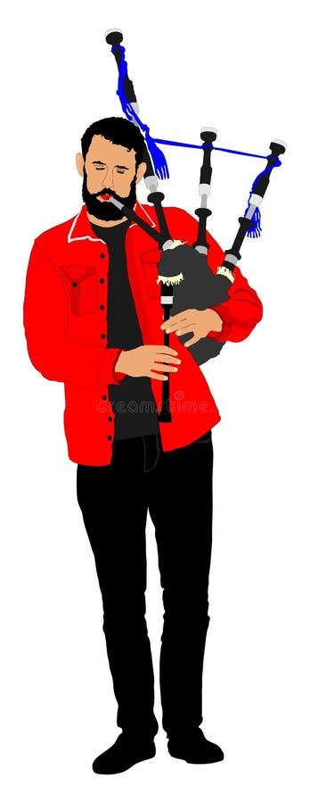 gaitero Juego del ejecutante de la música en el instrumento tradicional Gaita, tubos libre illustration