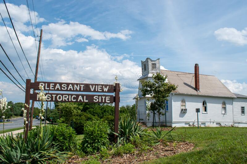 Pleasant View Historical Site. GAITHERSBURG, MD - JUNE 26, 2020: A sign marks the Pleasant View Historical Site in Montgomery County, Maryland. The site dates royalty free stock image