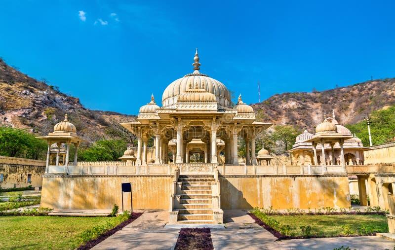 Gaitor real, un cenotafio en Jaipur - Rajasthán, la India imagen de archivo