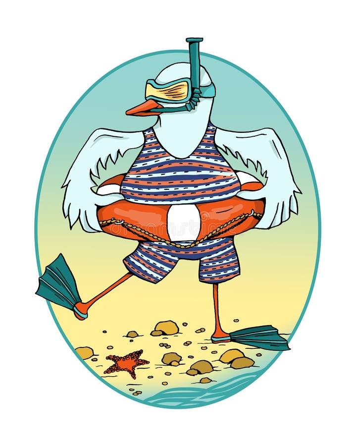 A gaivota com boia salva-vidas, aletas e máscara da natação ilustração royalty free