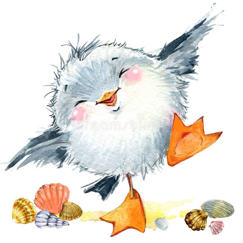 Gaivota do pássaro de mar Fundo engraçado marinho Ilustração da aguarela ilustração do vetor