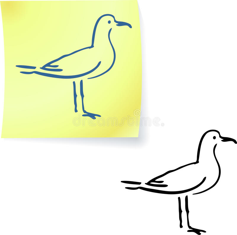 Gaivota em notas de post-it ilustração royalty free