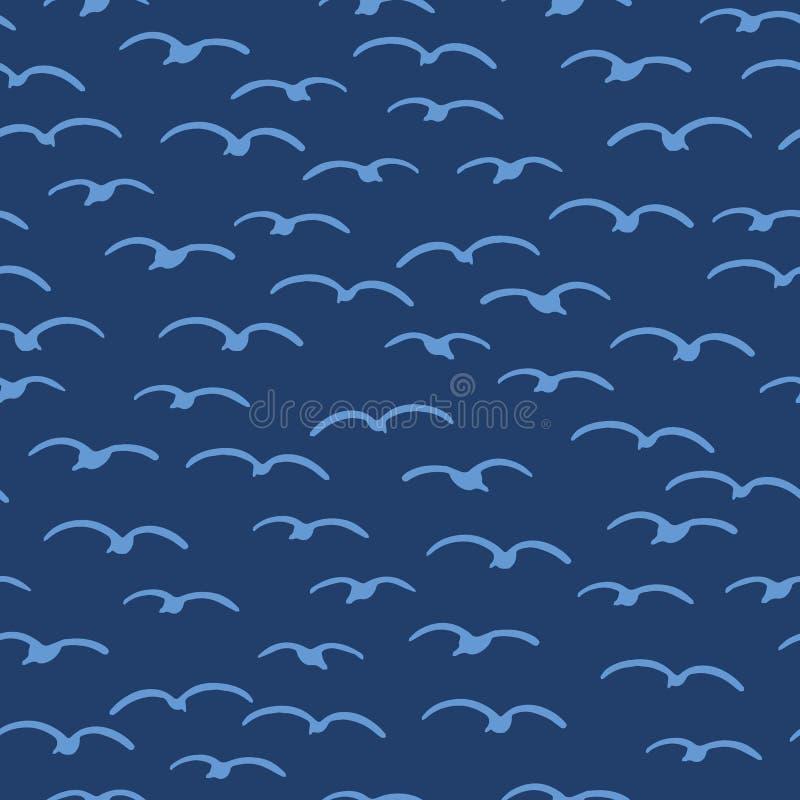 Gaivotas bonitos que voam no c?u do ver?o Fundo sem emenda animal marinho do vetor do p?ssaro Telha tirada m?o do sealife Por tod ilustração stock
