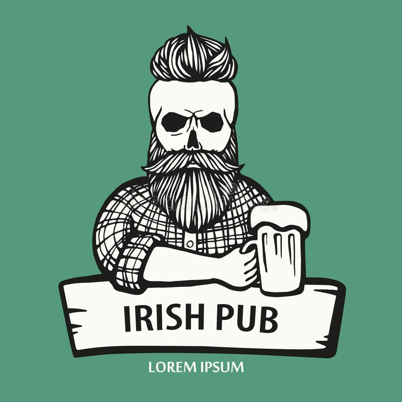 Gajo desenhado à mão do moderno do crânio com bigode, barba com cerveja Homem com vidro do álcool País do curso da cor dos busine ilustração do vetor