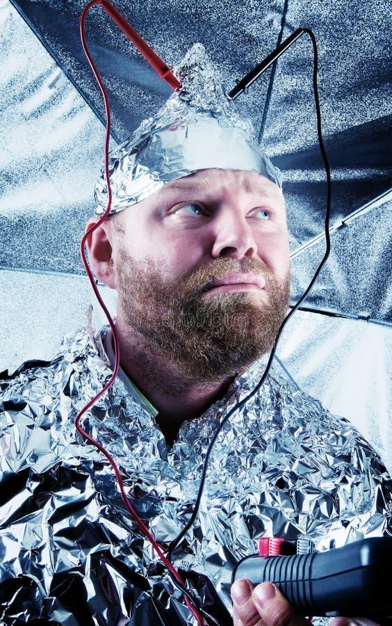 Gajo paranoide com Tin Foil Hat imagens de stock royalty free