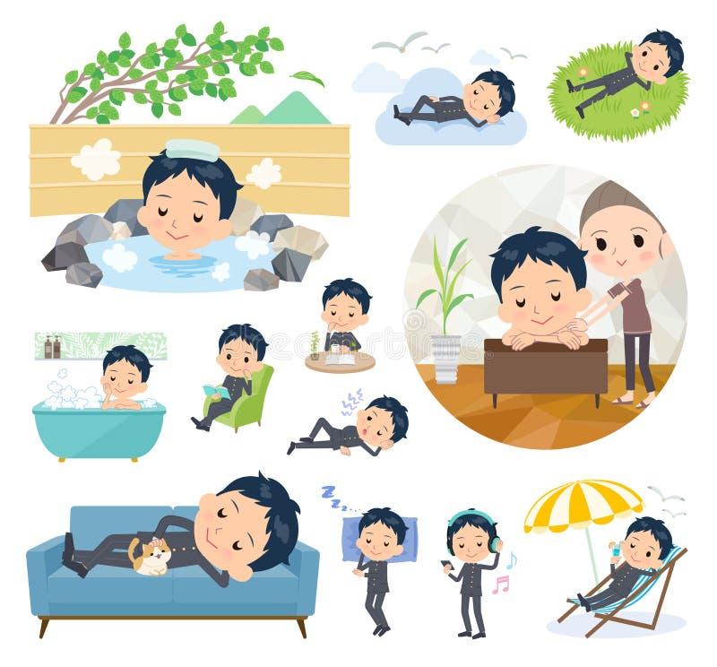 Gakuran_relax школьника иллюстрация вектора