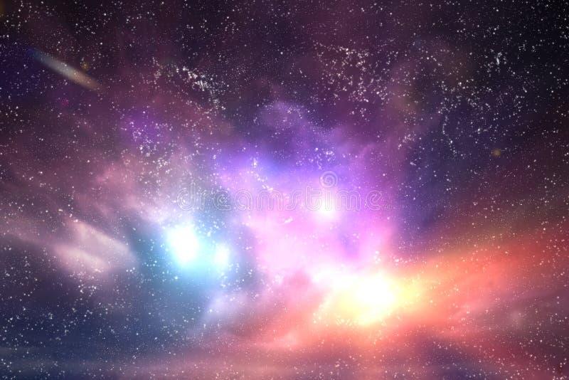 Galáxia, céu do espaço Estrelas, luzes, fundo da fantasia fotos de stock royalty free