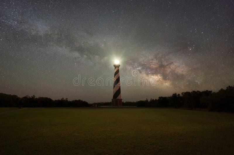 Galáxia da Via Látea que aumenta atrás do farol de Hatteras do cabo fotografia de stock