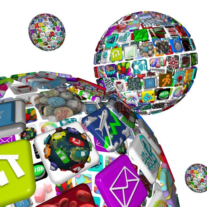Galáxia de Apps - esferas das aplicações ilustração royalty free