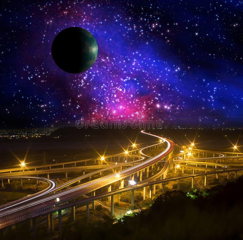 Galáxia e terra imagem de stock royalty free