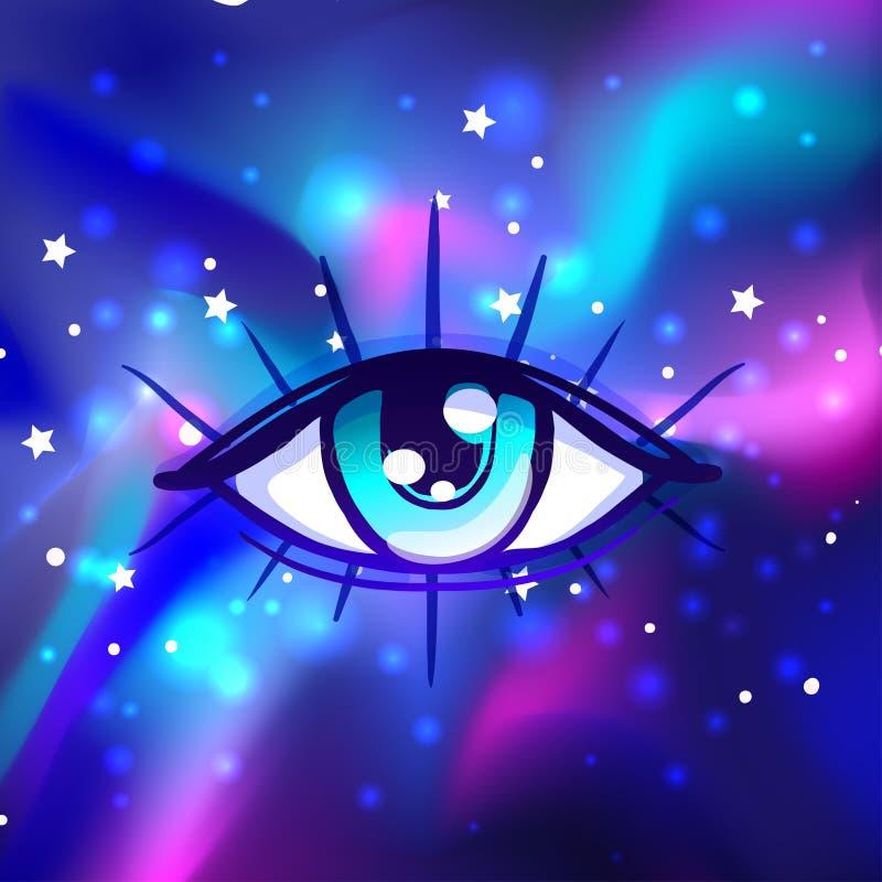 Galáxia em seu olho Fundo colorido brilhante do cosmos do vetor Miliampère ilustração stock