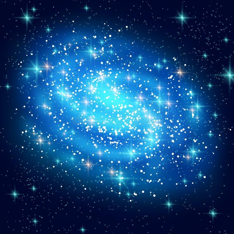 Galáxia espiral azul com estrelas de brilho ilustração royalty free