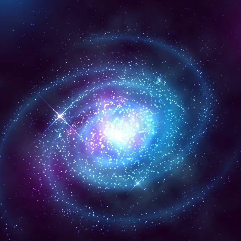 Galáxia espiral no espaço com ilustração estrelado do vetor do céu azul ilustração do vetor
