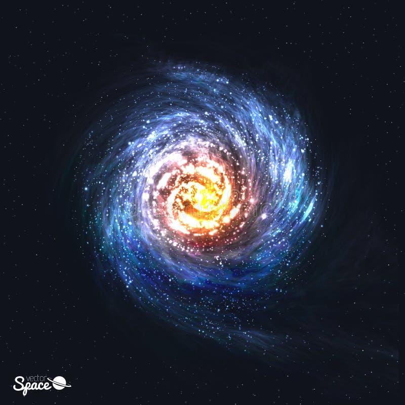 Galáxia espiral realística colorida no fundo cósmico Ilustração do vetor ilustração do vetor