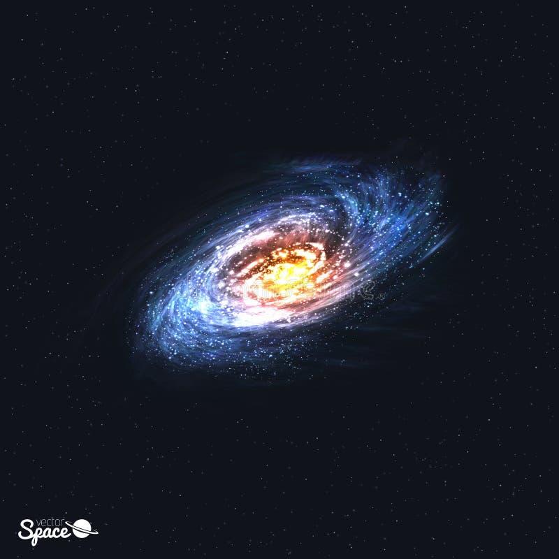 Galáxia espiral realística colorida no fundo do espaço Ilustração do vetor ilustração stock