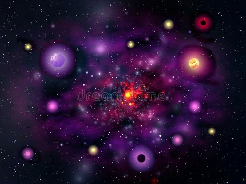 Galáxia violeta ilustração do vetor