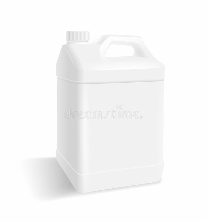 Galão de plástico branco Mock para cima ilustração stock