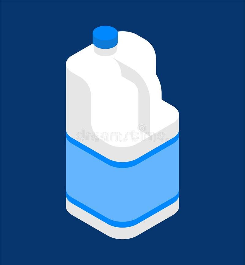 Galão do leite isométrico Frasco plástico isolado Illustra do vetor ilustração do vetor