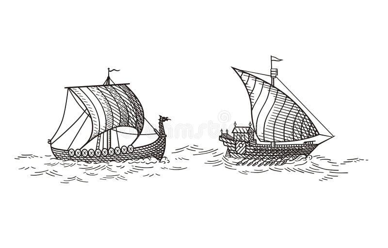 Galär och Drakkar skepp royaltyfri illustrationer
