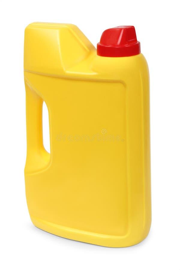 Galón plástico amarillo fotografía de archivo