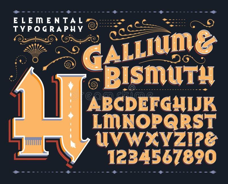 Gal & bizmuta zwyczaju Typeface royalty ilustracja