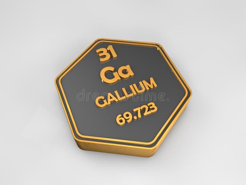 Gal - dziąsła - chemicznego elementu okresowego stołu heksagonalny kształt royalty ilustracja