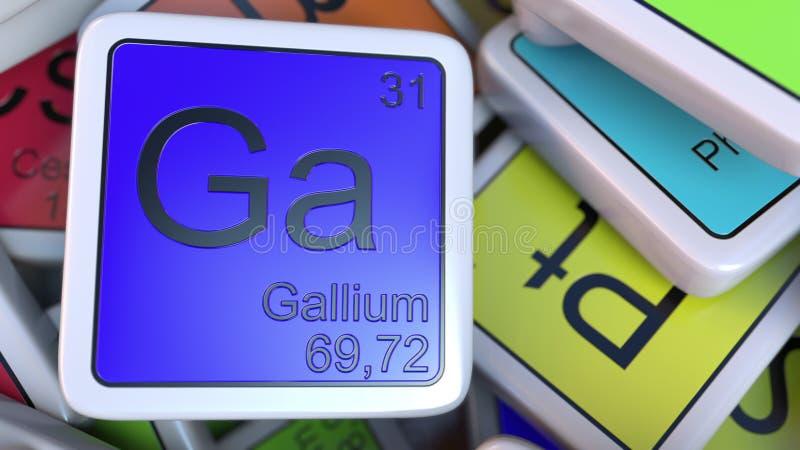Gal dziąseł blok na stosie okresowy stół chemicznych elementów bloki Chemia powiązany 3D rendering royalty ilustracja