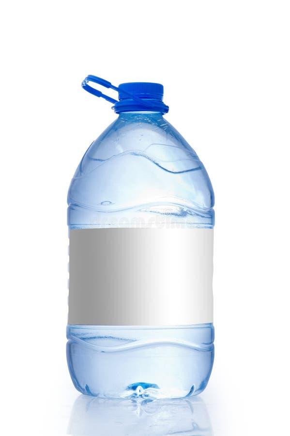 Gal. för vattenflaska med en tom etikett som isoleras på vit bakgrund royaltyfri fotografi