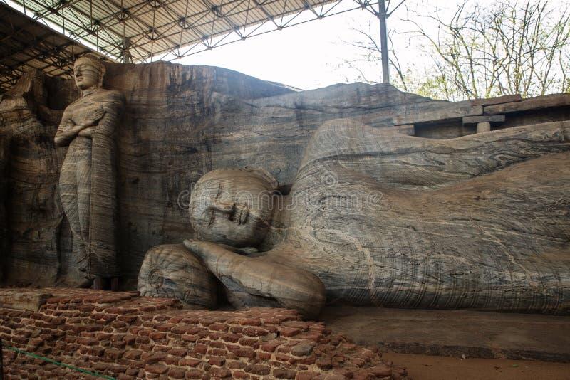 Gal Vihara状态在斯里兰卡 库存照片