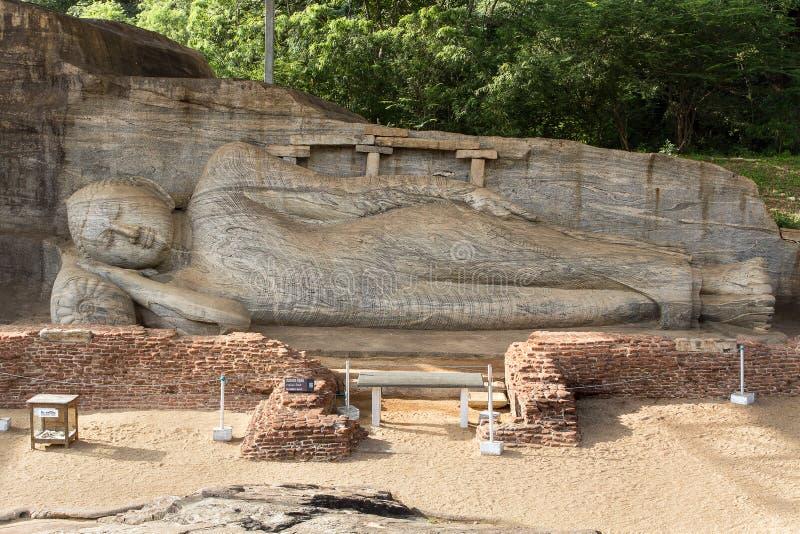 Gal Vihara,斜倚的菩萨雕象 图库摄影