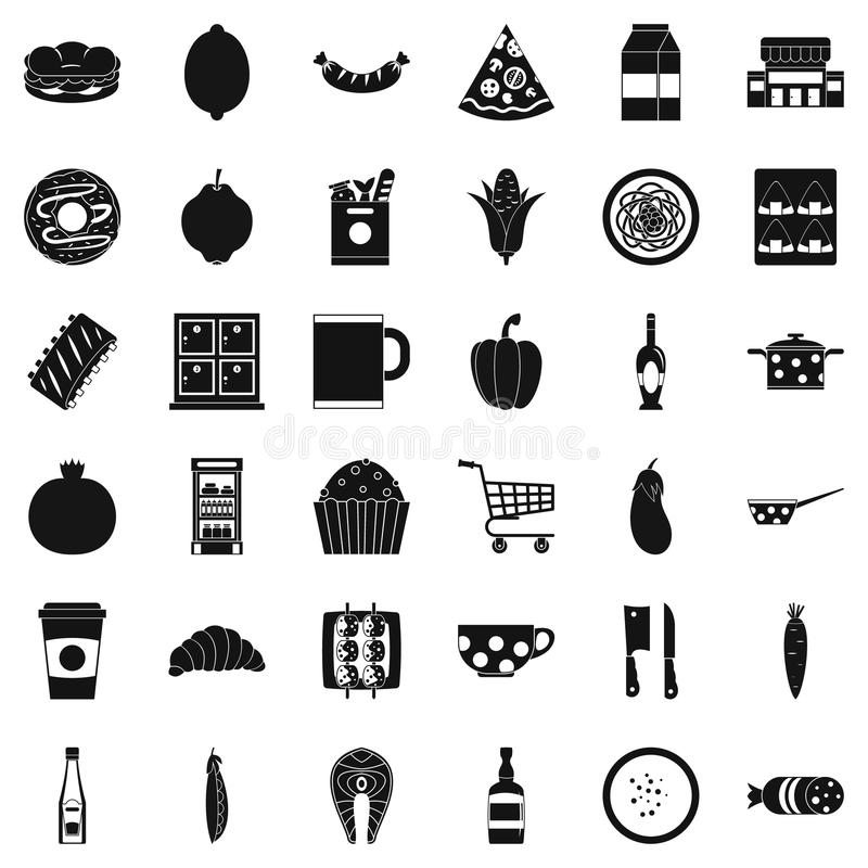 Gala dinner icons set, simple style stock illustration