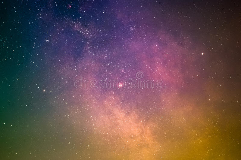 Galactic Center. The planet Saturn in front of the Galactic Center with the Lagoon Nebula, the Trifid Nebula, and the Omega Nebula as seen from Mannheim in stock images