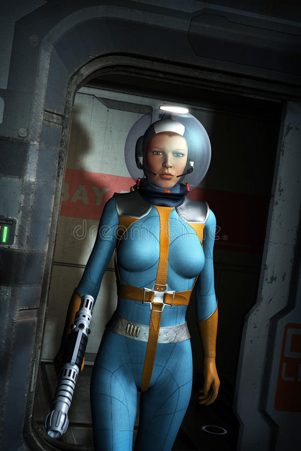 Galactic heroine in a spaceship stock illustration
