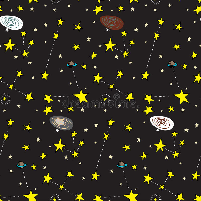 Galactic Seamless Pattern Stock Photos
