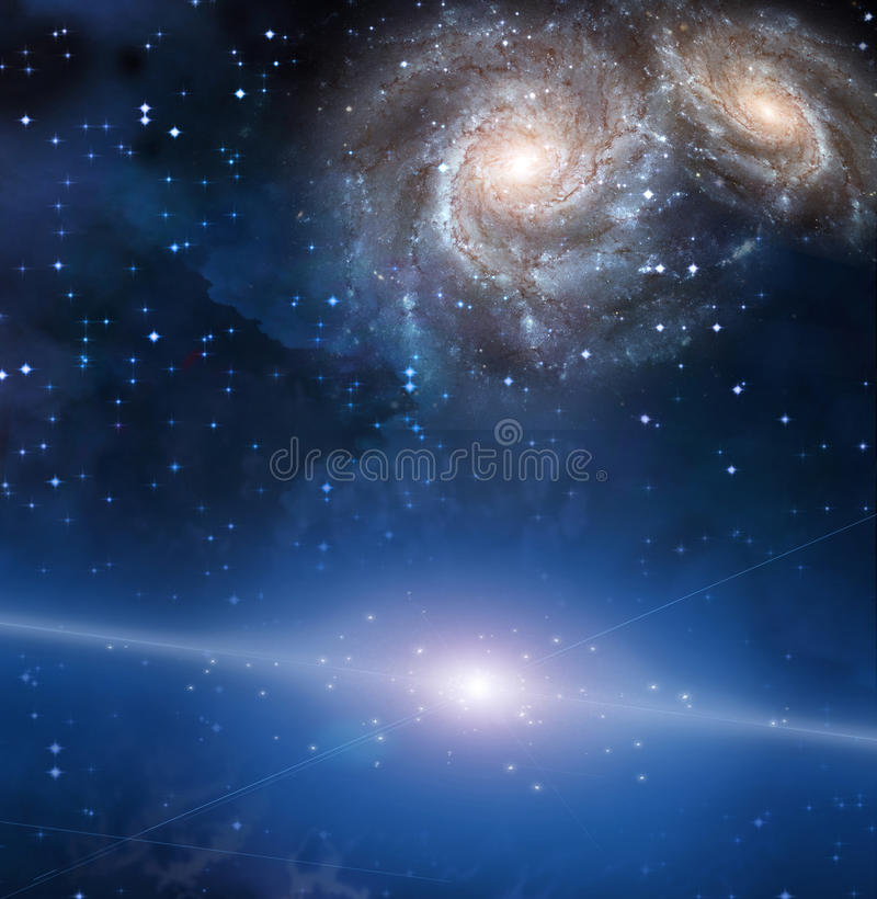 Galactic Space. Blue Galactic Space with galaxies royalty free illustration