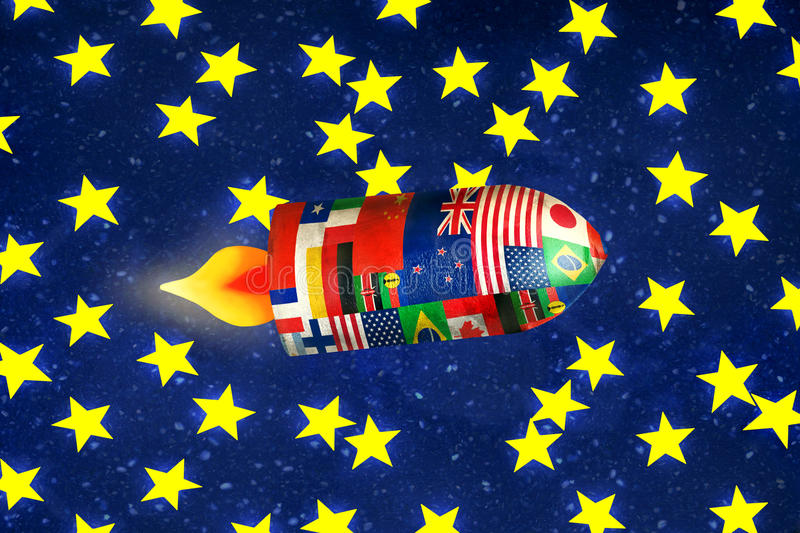 Galactic Travel. Fun illustration of a spaceship with all the flags of the nations in interstellar travel royalty free illustration